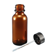 BOSTON ROUND GLASS BOTTLE w/APPLICATOR ROD (Amber, 1 oz)